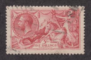 Great Britain Sc 180 used 1918 5sh carmine rose KGV & Seahorses, VF