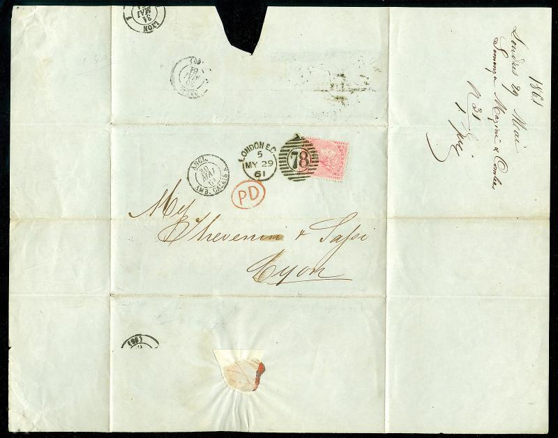 SG66a, 4d rose, USED. Cat £210. COVER TO LYON MAY 1861