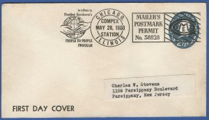 1960 COMPEX CHICAGO Permit cancel, 2.5c Stationery Envelope FDC