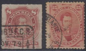 ARGENTINA 1877-78 RAILROAD TPO Sc 34 & 40 EST AMBTE F.C.S. & AMBULANTE N°9