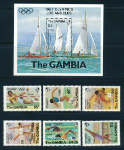 Gambia - Los Angeles Olympic Games MNH Sports Set Sailing (1984)