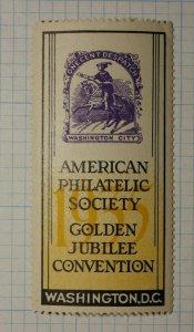 APS Jubilee 1c Despatch Local Post Washington DC Philatelic Souvenir Ad Label