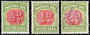 Australia Scott J64-66 (1938) Mint/Used H VF, CV $18.25 B