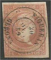 SPAIN, 1856, used 4c, Isabella II. Scott 41