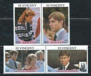 St. Vincent MNH 958-9 Pairs Royal Wedding Prince Andrew & Sarah Ferguson