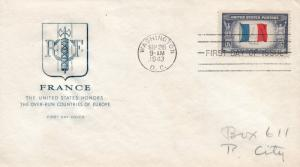 1943 Washington DC Honoring Occupied Nations France First Day Cover