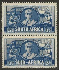 South Africa 1941-43 War issue 3d Deep Blue #85 Bilingual Pair F/VF-NH CV $22.50