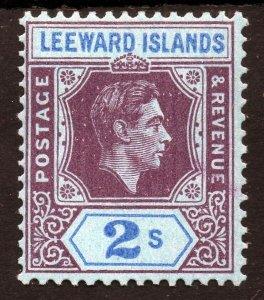 LEEWARD ISLANDS King George VI 1938-51 2s.Reddish-Purple & Blue SG 111 MINT