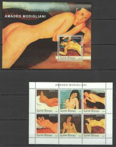 NS349 2003 GUINEA-BISSAU EROTIC ART NUDE PAINTINGS AMADEO MODIGLIANI 1BL+1KB MNH