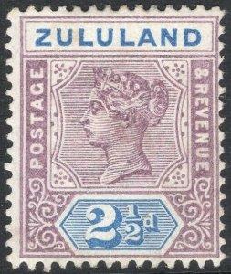 ZULULAND-1894 2½ Dull Mauve & Ultramarine Sg 22 AVERAGE MOUNTED MINT V50118