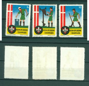 Denmark. 3 Poster Stamp 1940-60s. KFUM Scouts In Denmark. Seal # 4-7-10.