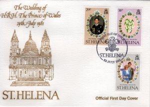 St.Helena 1981 Sc#353/355 Diana Wedding/Flowers Set (3) FDC Unaddressed