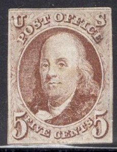 US Stamp #1 Red Brown USED SCV $350. Great appearance.