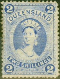 Queensland 1886 2s Bright Blue SG157 Thick Paper Good Mtd Mint