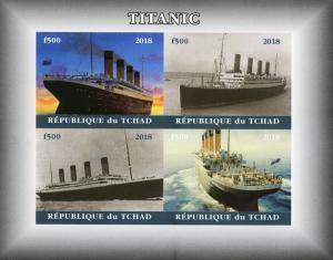 Chad 2018 MNH Titanic 4v IMPF M/S I Boats Ships Nautical Stamps