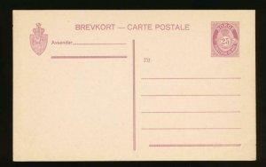 NORWAY Mi. P61 POSTAL STATIONERY POSTAL CARD 25o