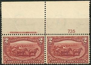 Sc# 286 2 Cent Trans-Mississippi Issue Pl # Pair  F-VF NH    S540