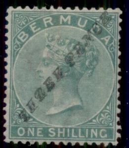BERMUDA #12a (SG13b) 3p on 1sh green, og, hinged, VF, B.P.A. cert, Scott $2,300