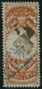 #R140A INVERTED CENTER MAJOR ERROR 30¢ 3RD ISSUE VF++ LT CNL (40 KNOWN) WLM2773