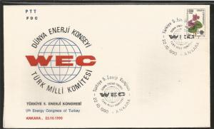 J) 1990 TURKEY, FLOWER, 5TH ENERGY CONGRESS OF TURKEY, DUNYA ENERGY COUNCIL TURK
