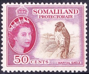 SOMALILAND PROTECTORATE 1953 QEII 50c Brown & Rose-Carmine SG143 MH