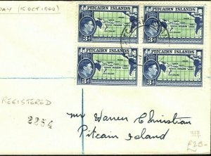 PITCAIRN ISLANDS KGVI FDC 3d Block{4} 1940 Registered First Day Cover PB315