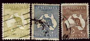 Australia SC#47-49 Used F-VF SCV$35.00...An Amazing Country!