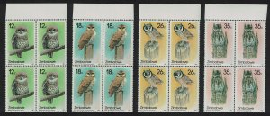 Zimbabwe Owls 4v Blocks of 4 Margins SG#710-713