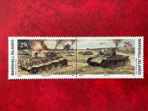 1993 Marshall Islands 2 Stamp Pair #336-337 WWII Battle Of Kursk MNH