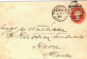 GB Wales Cover *THE DOCKS SWANSEA* Duplex France Havre ½d Stationery 1895 ZB46