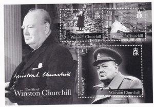 GB GUERNSEY 2015 VF-MNH LIFE OF WINSTON CHURCHILL S/SHEET PO FRESH