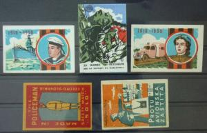 Match Box Labels ! military army police solider ship guns czechoslovakia GN3
