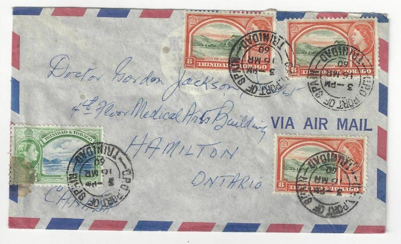 1960 Trinidad & Tobago To Canada Airmail Cover - 4 Stamps (AB40)
