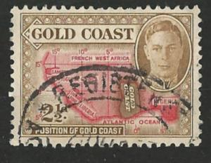 Gold Coast # 134  George VI   4½d. Map    (1)   VF Used