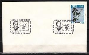 Peru, 11-22/SEP/86 issue. Composer Tchaikovsky cancel on Envelope. ^