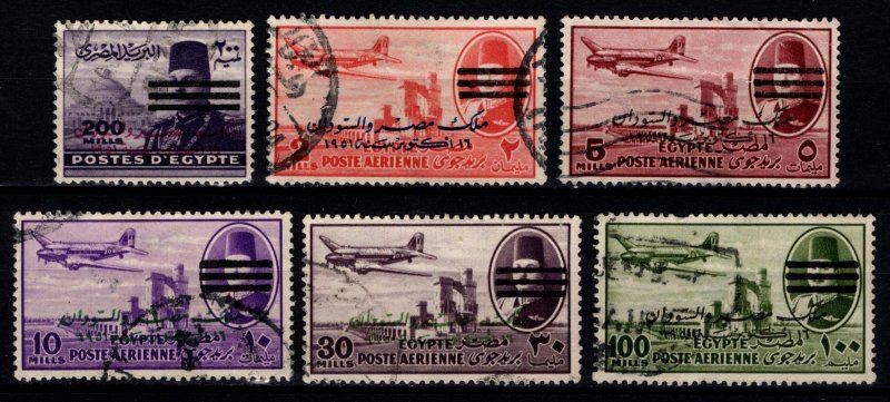 Egypt 1953 Egypt-Sudan issue of 1952 with Farouk Portrait Obliterated [Used]
