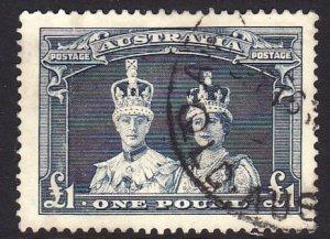 1938 Australia KGVI and QE 1£ used issue Sc# 179 CV $42.50