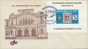 COSTA RICA NATL PHIL EXHIB,INVERTED CENTER STAMP 1901,ANNIV ANDET, IMPERF COVER