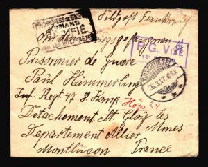 Germany 1917 POW Cover / Censor / TIRSCHTIEGEL CDS - Z14474