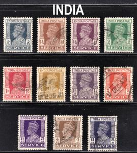 India Scott O105-112  complete set  F to VF used.