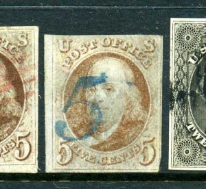 Scott #1 Franklin Imperf Used Stamp (Stock #1-37)