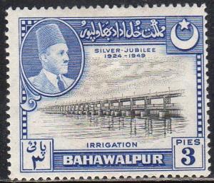 Pakistan (Bahawalpur) 22 - Mint-H - 3p Panjnad Weir (Dam) (1949)