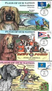 US Collins FDC SC#4313-4322 Flags Of Our Nation Dogs Of America