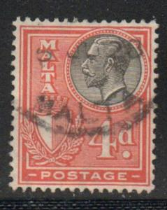 Malta Sc 138 1926 4d orange & black G V stamp used