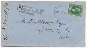 US Scott #184 on Cover San Diego, CA November 15, 1880 Aux PM