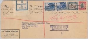 52034 - SOUTH AFRICA -  POSTAL HISTORY: LONG COVER to USA 1947 - TAXED!