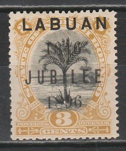 LABUAN 1896 JUBILEE 3C TREE PERF 14.5