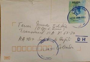 A) 1995, BRAZIL, INTERNATIONAL POSTCARD RATE, BOGOTA-COLOMBIA
