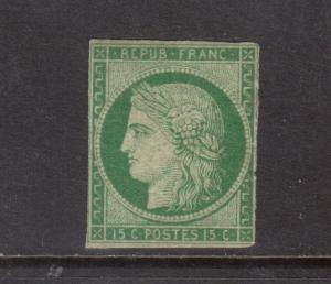 France #2 (Y & T #2) Mint Fine Original Gum Hinged **With Certificate**