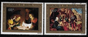 Upper Volta 1972 Nativity Christmas Sc C127-128 Used A1254